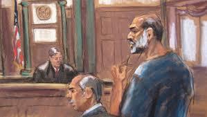 Sulaiman Abu Ghaith devant le juge Lewis Kaplan à la Cour fédérale de New York le 8 mars 2013.
