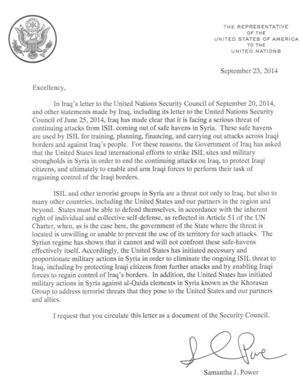 Lettre de Samantha Power au SGNU