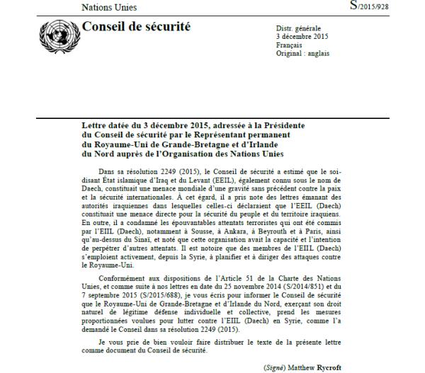 Lettre datée du 3 décembre 2015, adressée à la Présidente du Conseil de sécurité par le Représentant permanent du Royaume-Uni de Grande-Bretagne et d'Irlande du Nord auprès de l'Organisation des Nations Unies