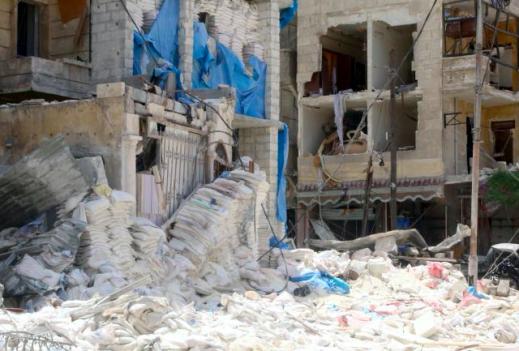 L'hôpital al-Qods à Alep après un raid aérien mené le 28 avril 2016